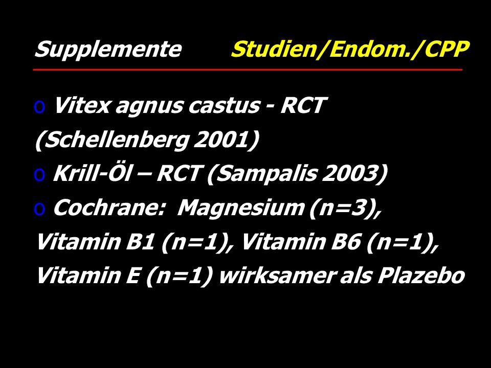 Supplemente Studien/Endom./CPP o Vitex agnus castus - RCT (Schellenberg 2001) o Krill-Öl – RCT (Sampalis 2003) o Cochrane: Magnesium (n=3), Vitamin B1