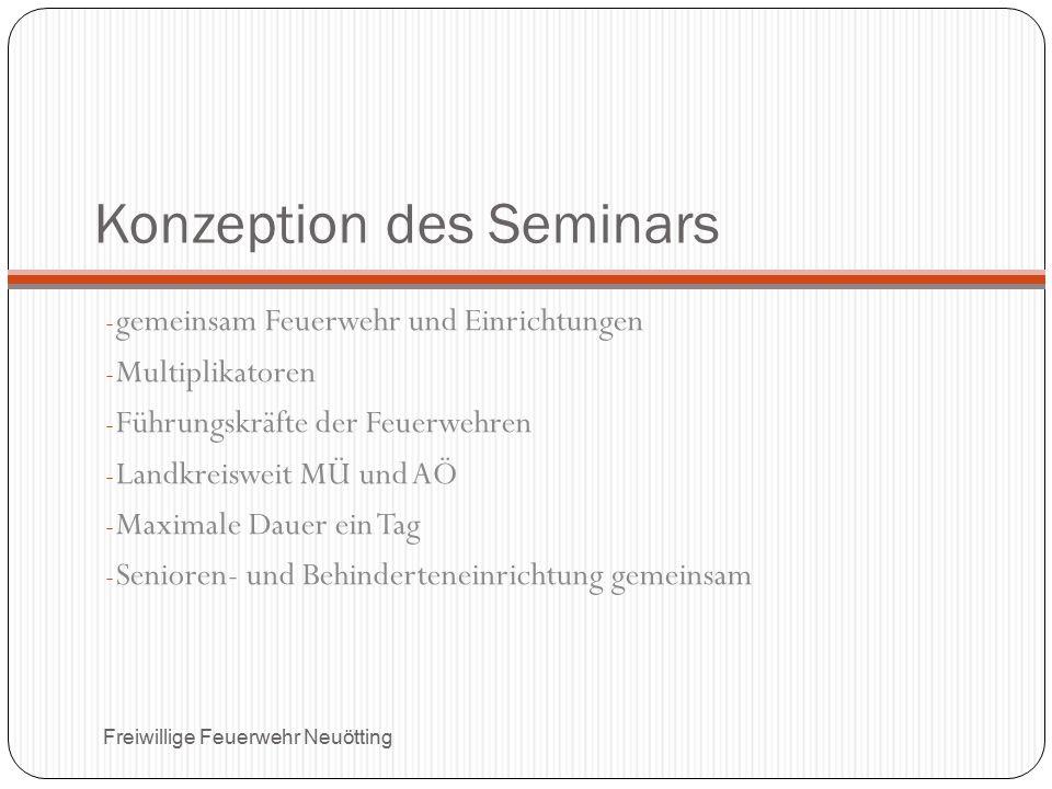 Konzeption des Seminars - gemeinsam Feuerwehr und Einrichtungen - Multiplikatoren - Führungskräfte der Feuerwehren - Landkreisweit MÜ und AÖ - Maximal