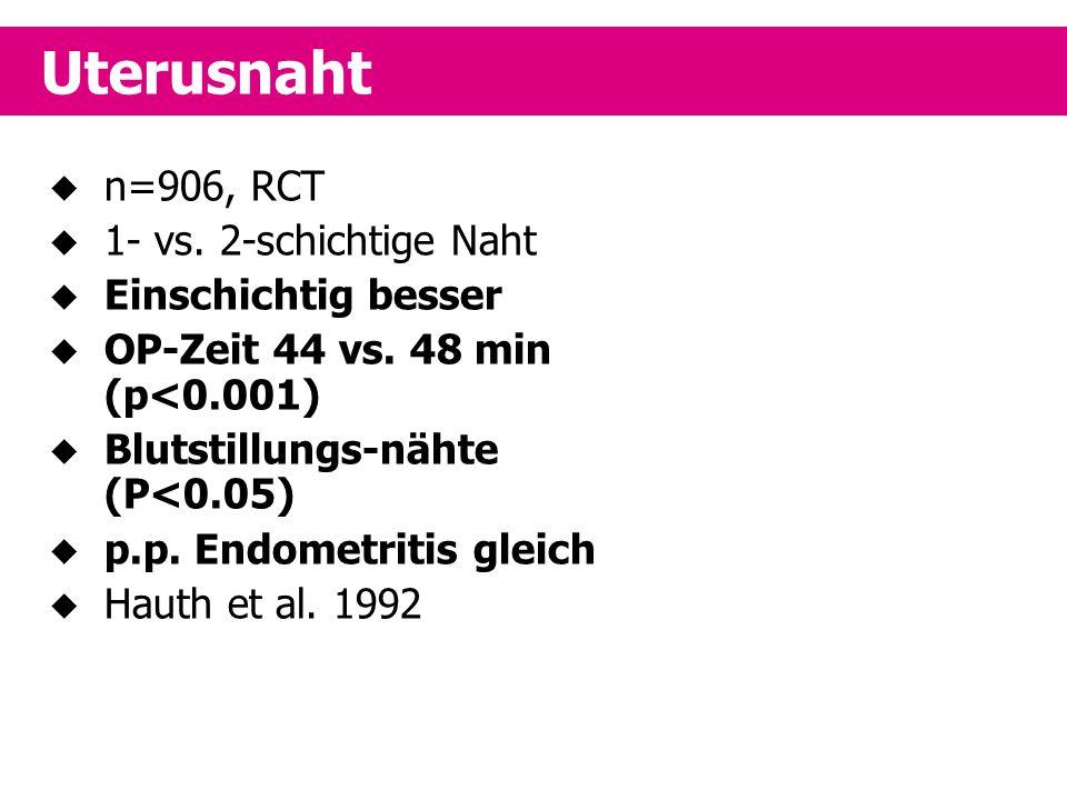  n=906, RCT  1- vs. 2-schichtige Naht  Einschichtig besser  OP-Zeit 44 vs. 48 min (p<0.001)  Blutstillungs-nähte (P<0.05)  p.p. Endometritis gle