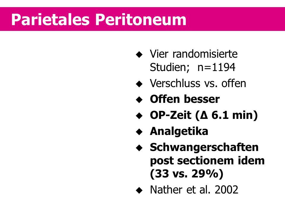 Parietales Peritoneum  Vier randomisierte Studien; n=1194  Verschluss vs. offen  Offen besser  OP-Zeit (Δ 6.1 min)  Analgetika  Schwangerschafte