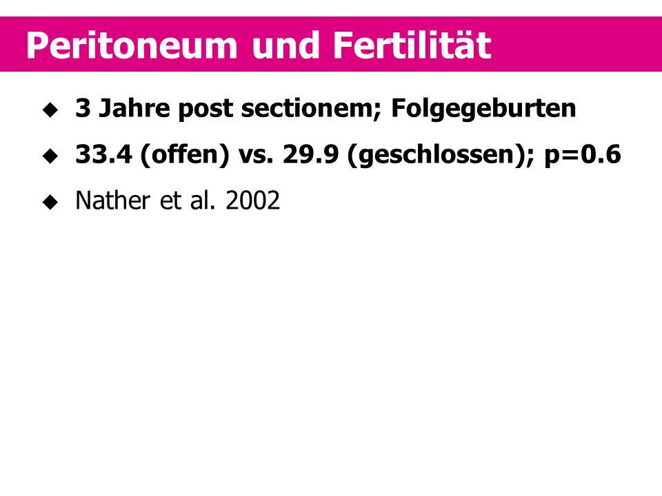  3 Jahre post sectionem; Folgegeburten  33.4 (offen) vs. 29.9 (geschlossen); p=0.6  Nather et al. 2002 Peritoneum und Fertilität