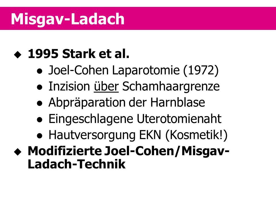  1995 Stark et al. Joel-Cohen Laparotomie (1972) Inzision über Schamhaargrenze Abpräparation der Harnblase Eingeschlagene Uterotomienaht Hautversorgu