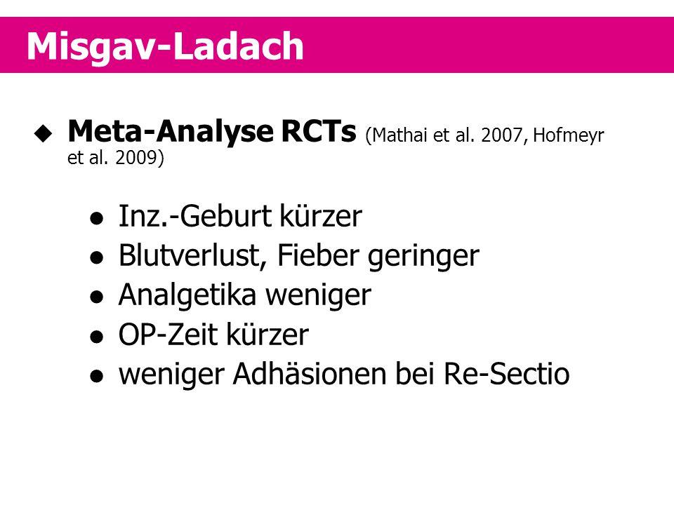  Meta-Analyse RCTs (Mathai et al. 2007, Hofmeyr et al. 2009) Inz.-Geburt kürzer Blutverlust, Fieber geringer Analgetika weniger OP-Zeit kürzer wenige