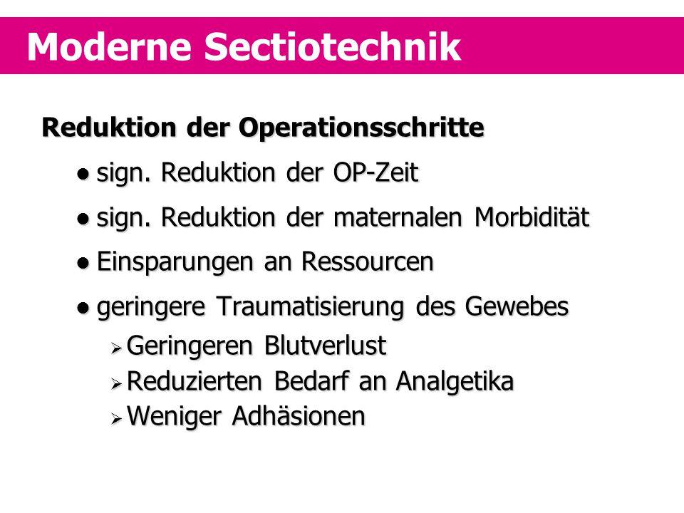 Reduktion der Operationsschritte sign. Reduktion der OP-Zeit sign. Reduktion der OP-Zeit sign. Reduktion der maternalen Morbidität sign. Reduktion der