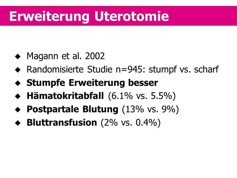 Erweiterung Uterotomie  Magann et al. 2002  Randomisierte Studie n=945: stumpf vs. scharf  Stumpfe Erweiterung besser  Hämatokritabfall (6.1% vs.