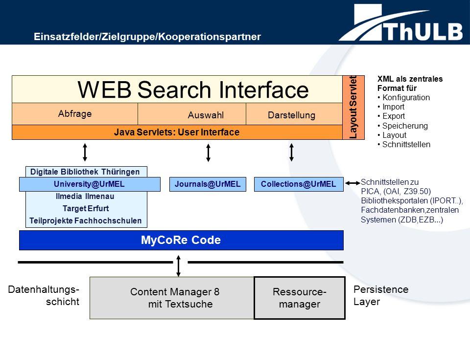 Reduzierung des Entwicklungsaufwands durch Schaffung von Beispiell ö sungen Suche in einzelnen Felder, Volltextsuche in den OCR ' s, sowie ü berfassende Suche ist soll m ö glich Servlet zum Vergr öß ern und Verkleinern der Zeitungsausschnitte Das ganze basiert auf MyCoRe, l ä uft unter Linux mit MySQL und eXist auf einer OpenPower 720.