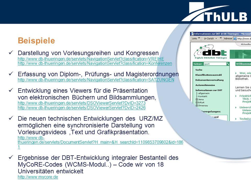 Darstellung von Vorlesungsreihen und Kongressen http://www.db-thueringen.de/servlets/NavigationServlet?classification=VREIHE http://www.db-thueringen.