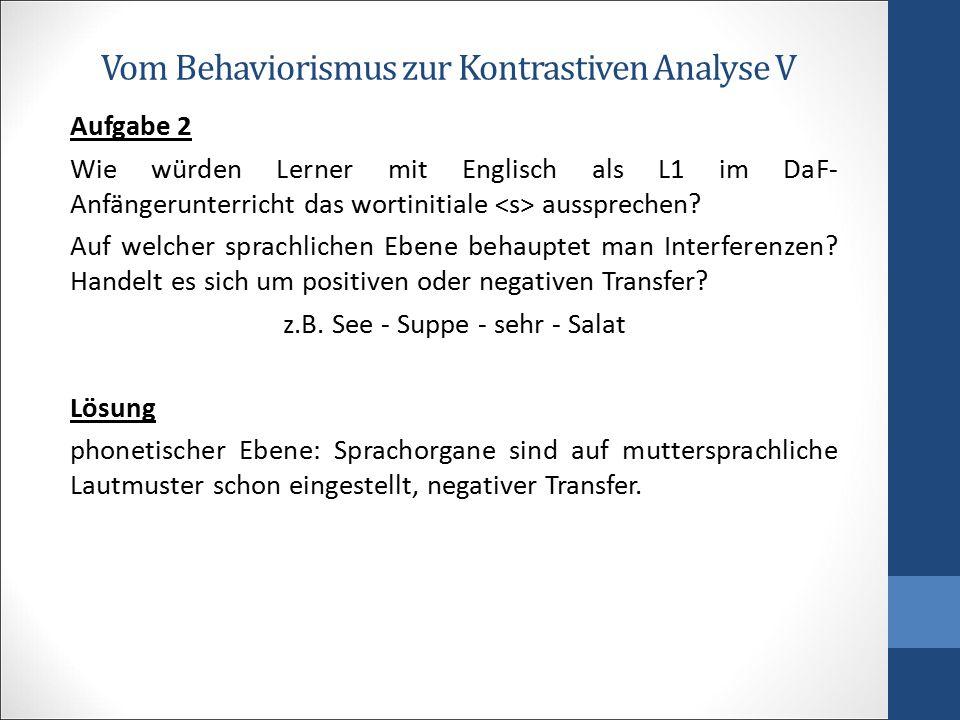 Vom Behaviorismus zur Kontrastiven Analyse V Aufgabe 2 Wie würden Lerner mit Englisch als L1 im DaF- Anfängerunterricht das wortinitiale aussprechen?