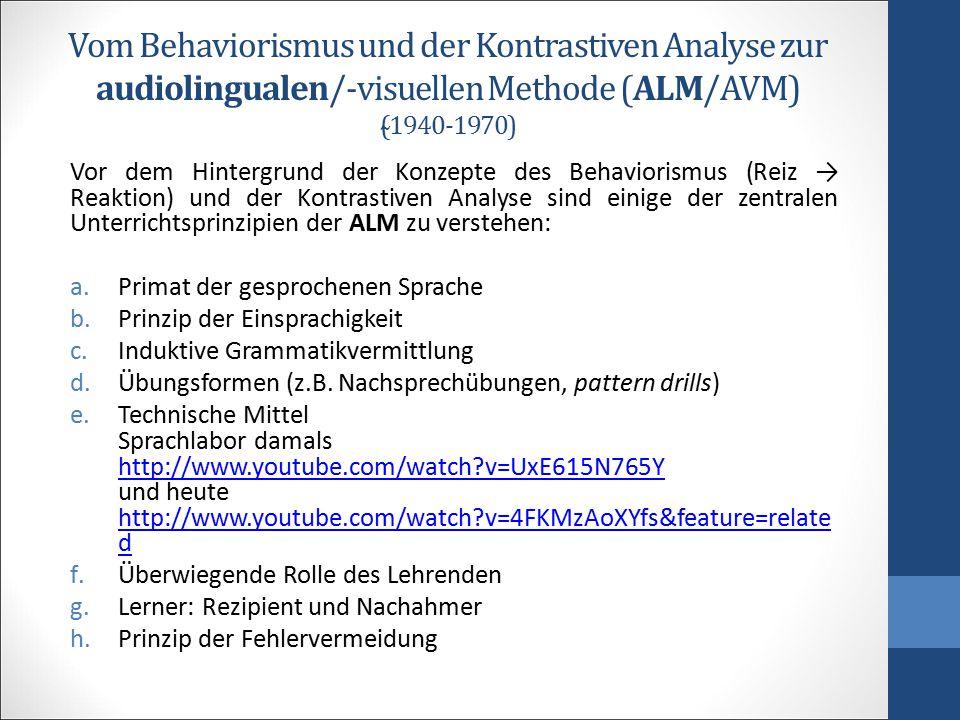 Vom Behaviorismus und der Kontrastiven Analyse zur audiolingualen/-visuellen Methode (ALM/AVM) (̴1940-1970) Vor dem Hintergrund der Konzepte des Behav