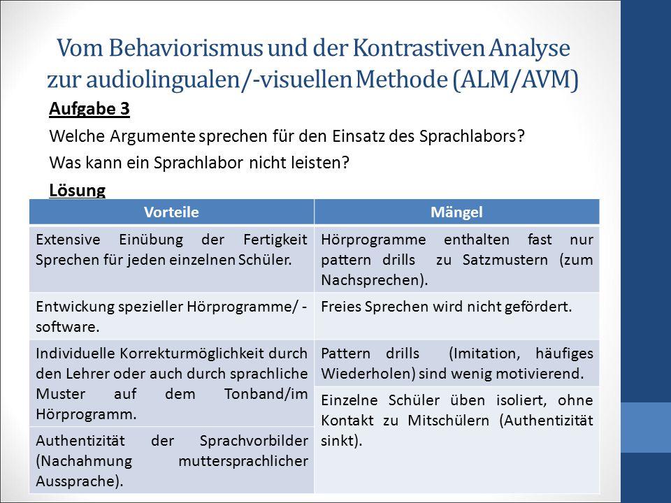 Vom Behaviorismus und der Kontrastiven Analyse zur audiolingualen/-visuellen Methode (ALM/AVM) Aufgabe 3 Welche Argumente sprechen für den Einsatz des