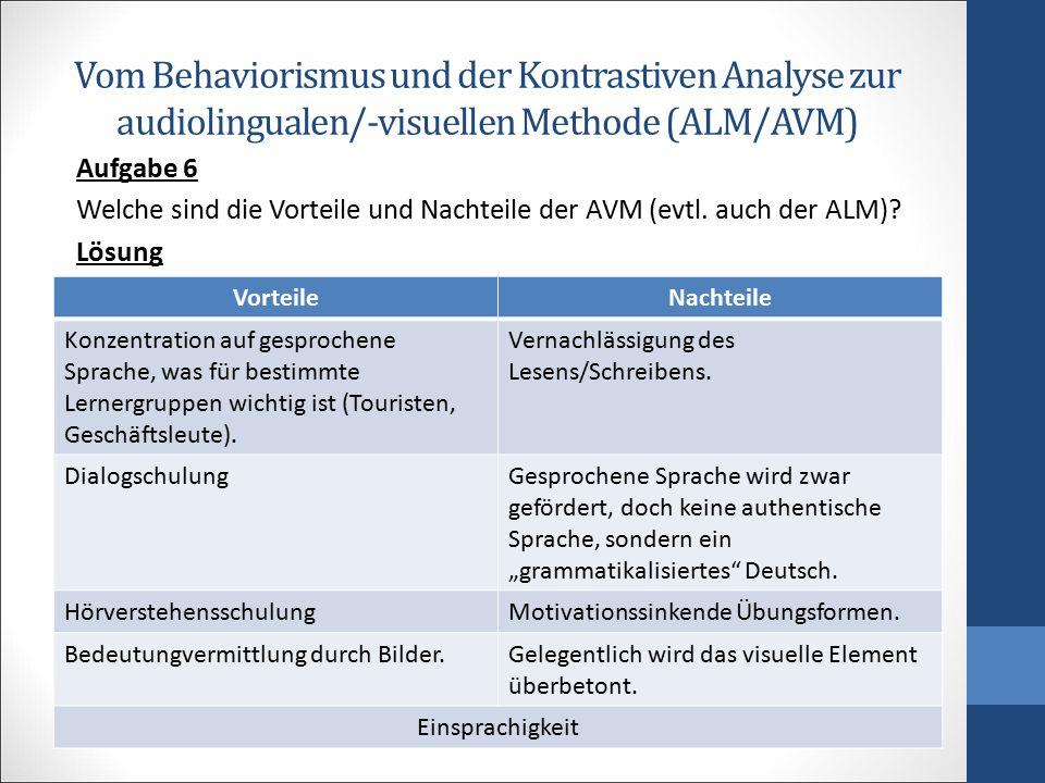 Vom Behaviorismus und der Kontrastiven Analyse zur audiolingualen/-visuellen Methode (ALM/AVM) Aufgabe 6 Welche sind die Vorteile und Nachteile der AV