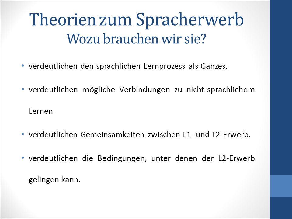 Theorien zum Spracherwerb Wozu brauchen wir sie? verdeutlichen den sprachlichen Lernprozess als Ganzes. verdeutlichen mögliche Verbindungen zu nicht-s