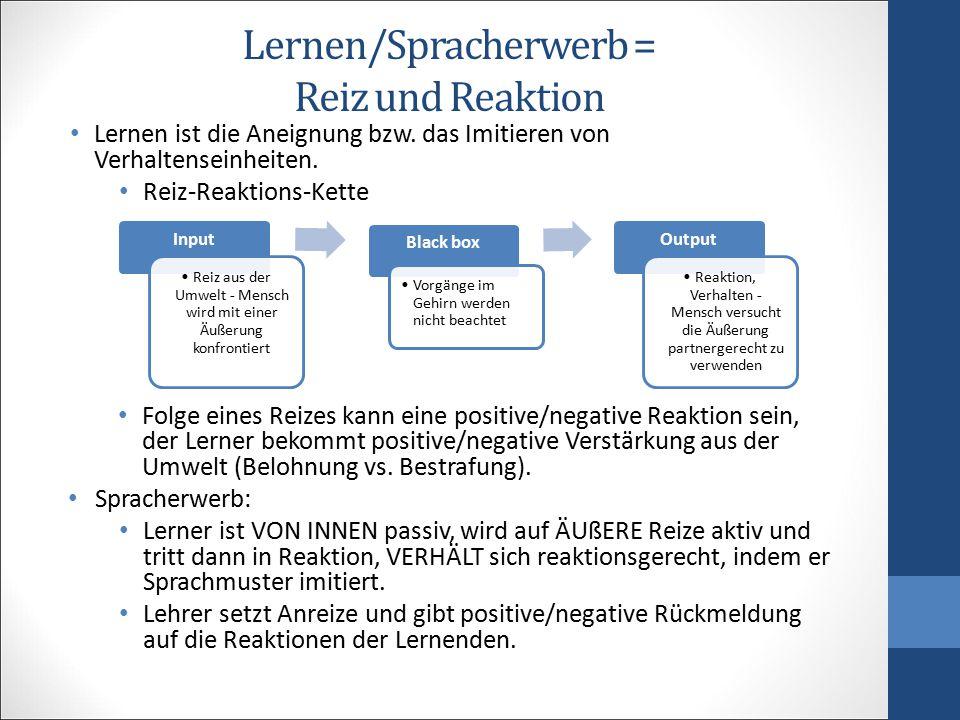 Lernen/Spracherwerb = Reiz und Reaktion Lernen ist die Aneignung bzw. das Imitieren von Verhaltenseinheiten. Reiz-Reaktions-Kette Folge eines Reizes k