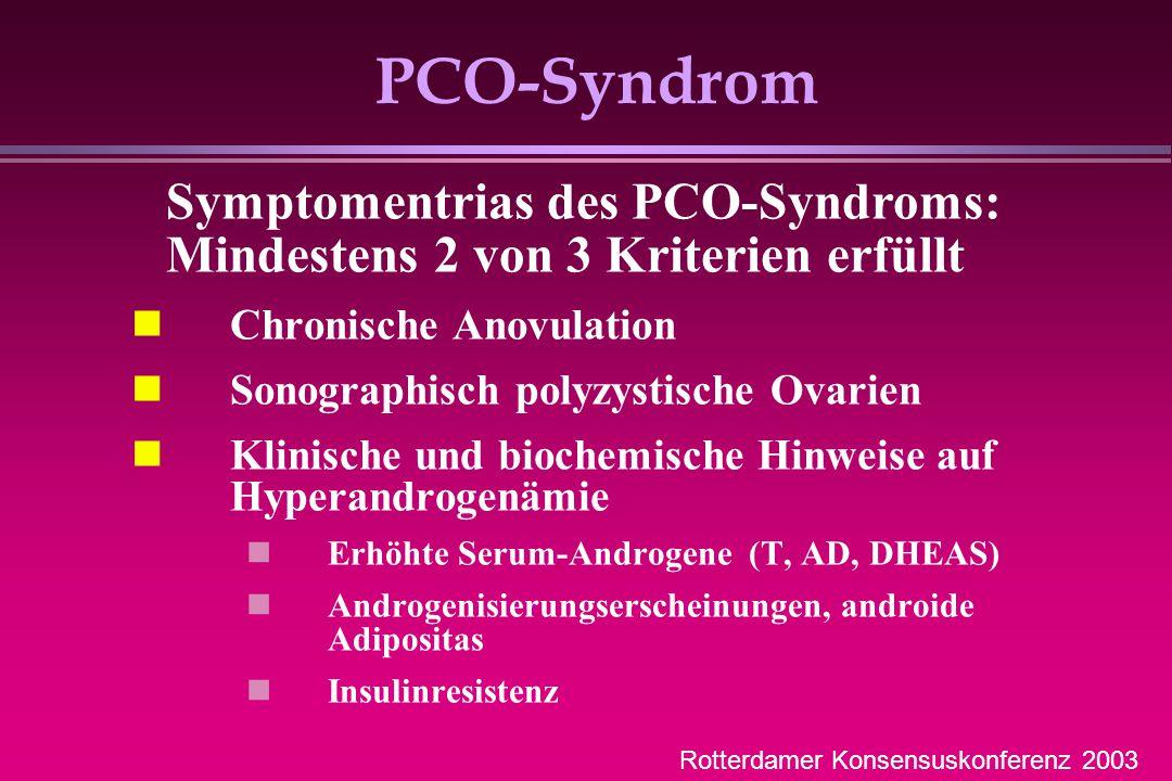 PCO-Syndrom Chronische Anovulation Sonographisch polyzystische Ovarien Klinische und biochemische Hinweise auf Hyperandrogenämie Erhöhte Serum-Androge