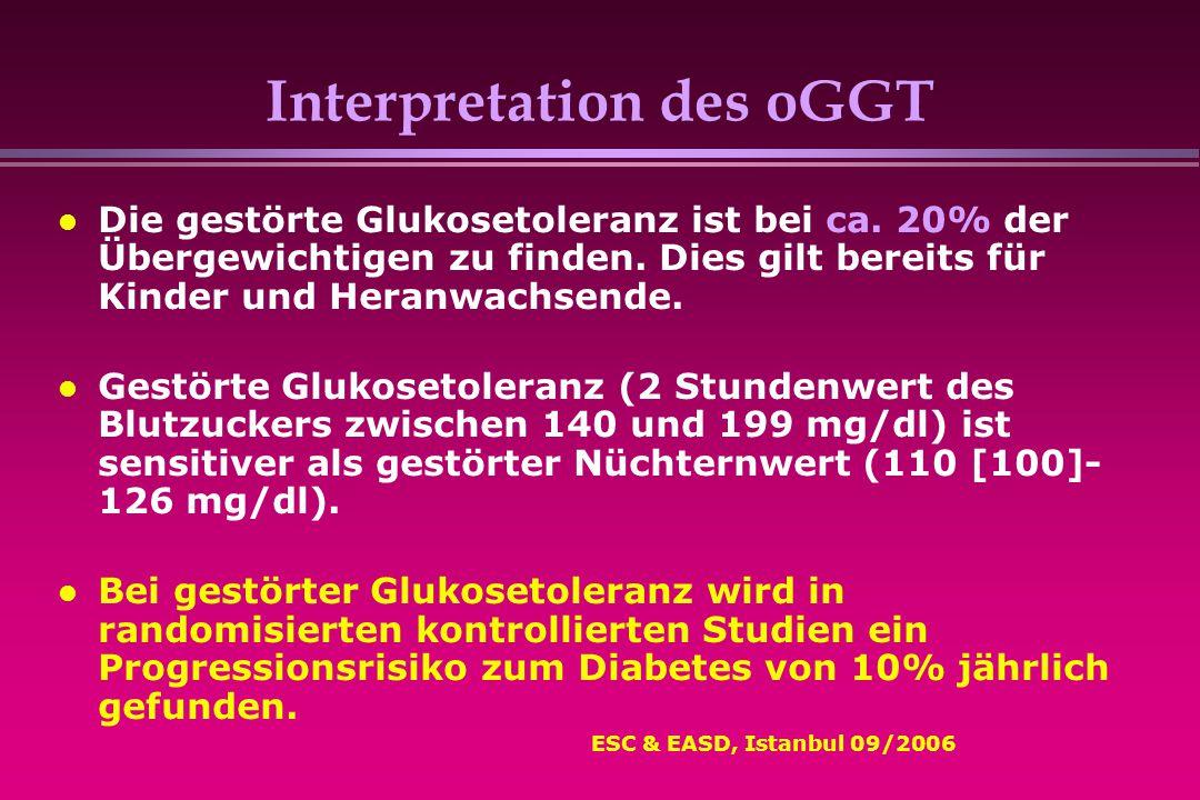 Interpretation des oGGT Die gestörte Glukosetoleranz ist bei ca. 20% der Übergewichtigen zu finden. Dies gilt bereits für Kinder und Heranwachsende. G
