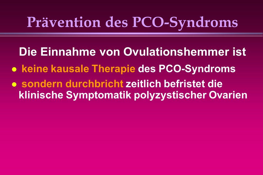 Prävention des PCO-Syndroms keine kausale Therapie des PCO-Syndroms sondern durchbricht zeitlich befristet die klinische Symptomatik polyzystischer Ov