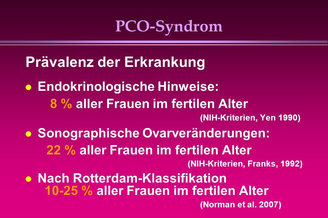 PCO-Syndrom Endokrinologische Hinweise: 8 % aller Frauen im fertilen Alter (NIH-Kriterien, Yen 1990) Sonographische Ovarveränderungen: 22 % aller Frau