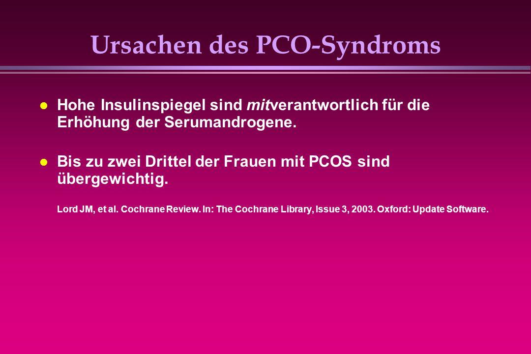 Ursachen des PCO-Syndroms Hohe Insulinspiegel sind mitverantwortlich für die Erhöhung der Serumandrogene. Bis zu zwei Drittel der Frauen mit PCOS sind