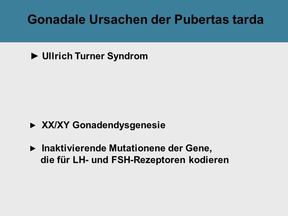 Tilak GsmbH: Gonadale Ursachen der Pubertas tarda ► Ullrich Turner Syndrom ► XX/XY Gonadendysgenesie ► Inaktivierende Mutationene der Gene, die für LH