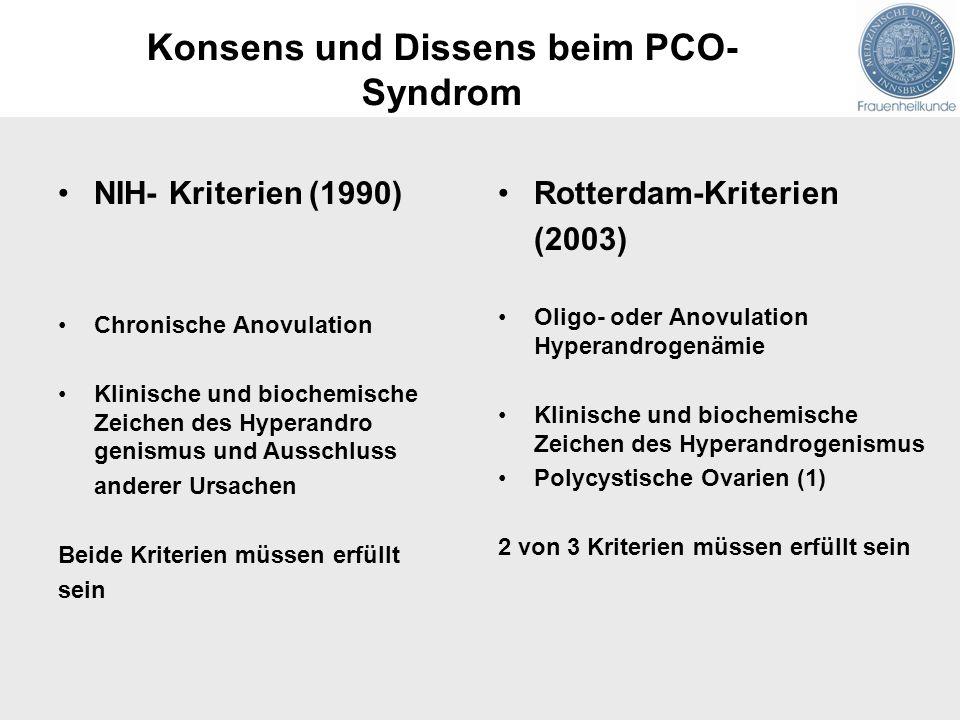 NIH- Kriterien (1990) Chronische Anovulation Klinische und biochemische Zeichen des Hyperandro genismus und Ausschluss anderer Ursachen Beide Kriterie