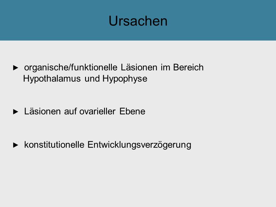 Ursachen ► organische/funktionelle Läsionen im Bereich Hypothalamus und Hypophyse ► Läsionen auf ovarieller Ebene ► konstitutionelle Entwicklungsverzö