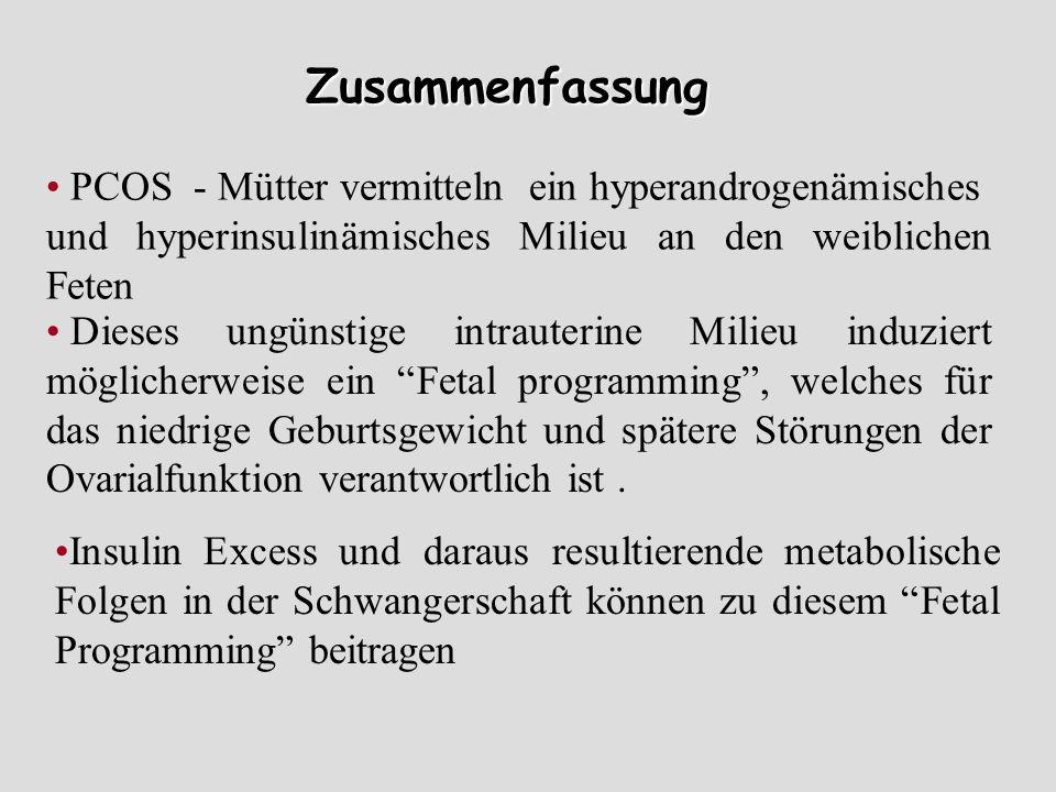 Zusammenfassung PCOS - Mütter vermitteln ein hyperandrogenämisches und hyperinsulinämisches Milieu an den weiblichen Feten Dieses ungünstige intrauter