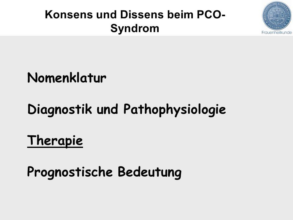 Nomenklatur Diagnostik und Pathophysiologie Therapie Prognostische Bedeutung Konsens und Dissens beim PCO- Syndrom