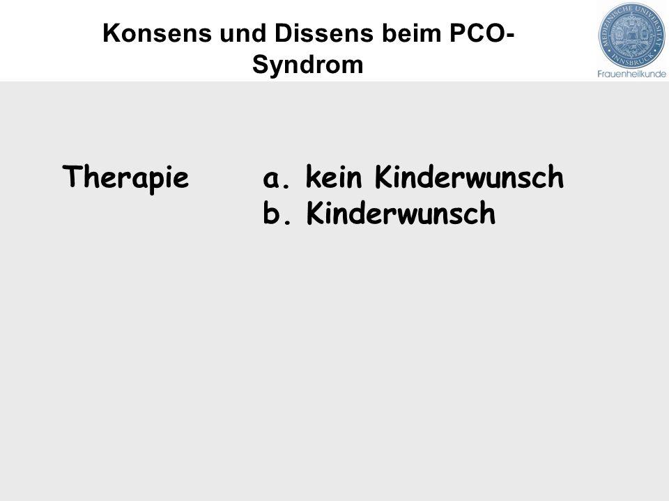 Therapie a. kein Kinderwunsch b. Kinderwunsch Konsens und Dissens beim PCO- Syndrom