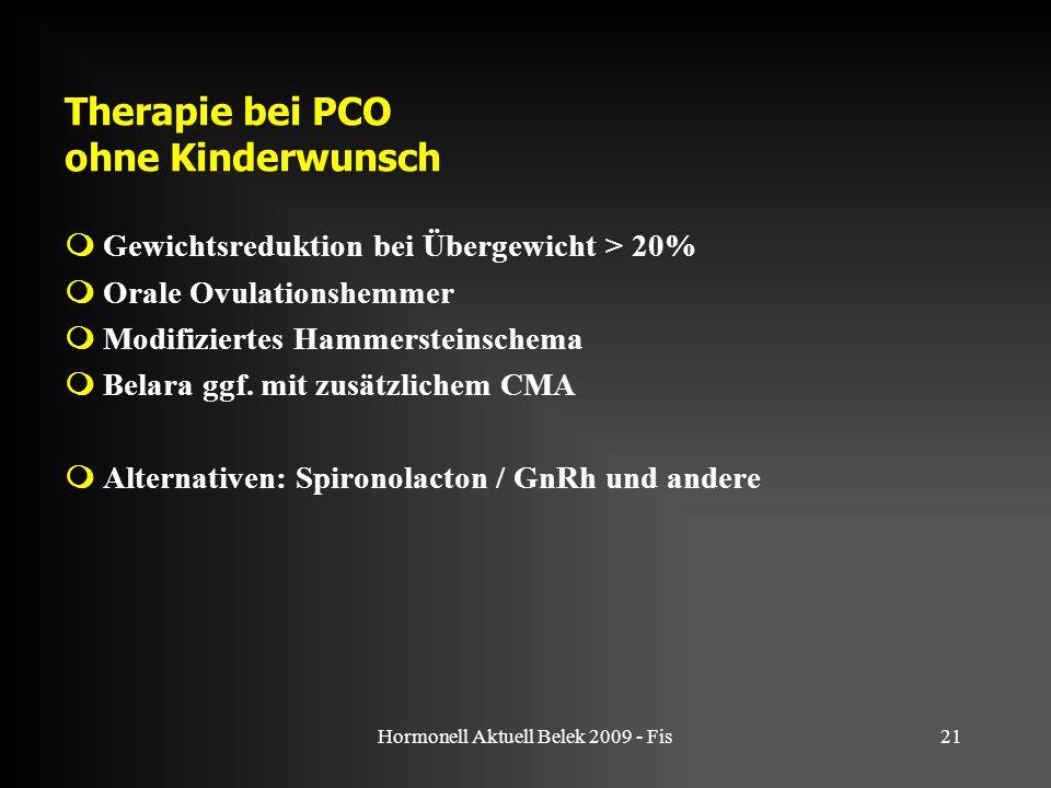 Hormonell Aktuell Belek 2009 - Fis21 Therapie bei PCO ohne Kinderwunsch  Gewichtsreduktion bei Übergewicht > 20%  Orale Ovulationshemmer  Modifiziertes Hammersteinschema  Belara ggf.