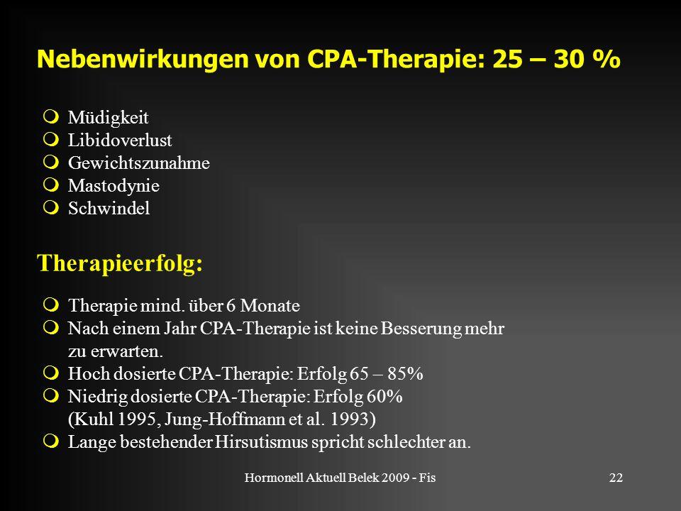 Hormonell Aktuell Belek 2009 - Fis22  Müdigkeit  Libidoverlust  Gewichtszunahme  Mastodynie  Schwindel Nebenwirkungen von CPA-Therapie: 25 – 30 %  Therapie mind.