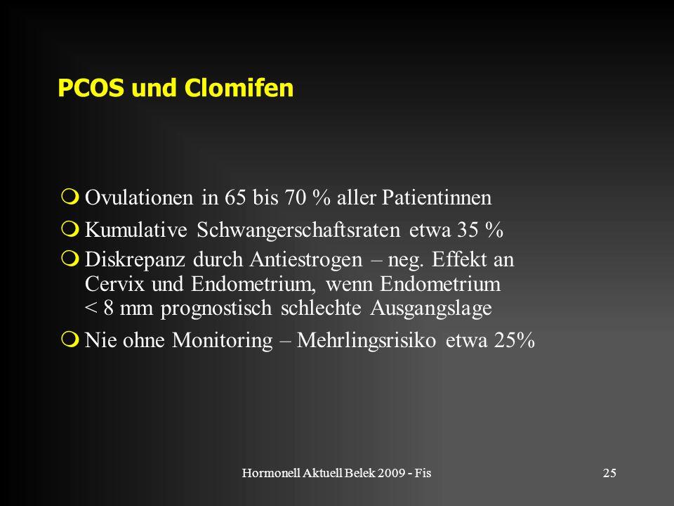 Hormonell Aktuell Belek 2009 - Fis25 PCOS und Clomifen  Ovulationen in 65 bis 70 % aller Patientinnen  Kumulative Schwangerschaftsraten etwa 35 % 