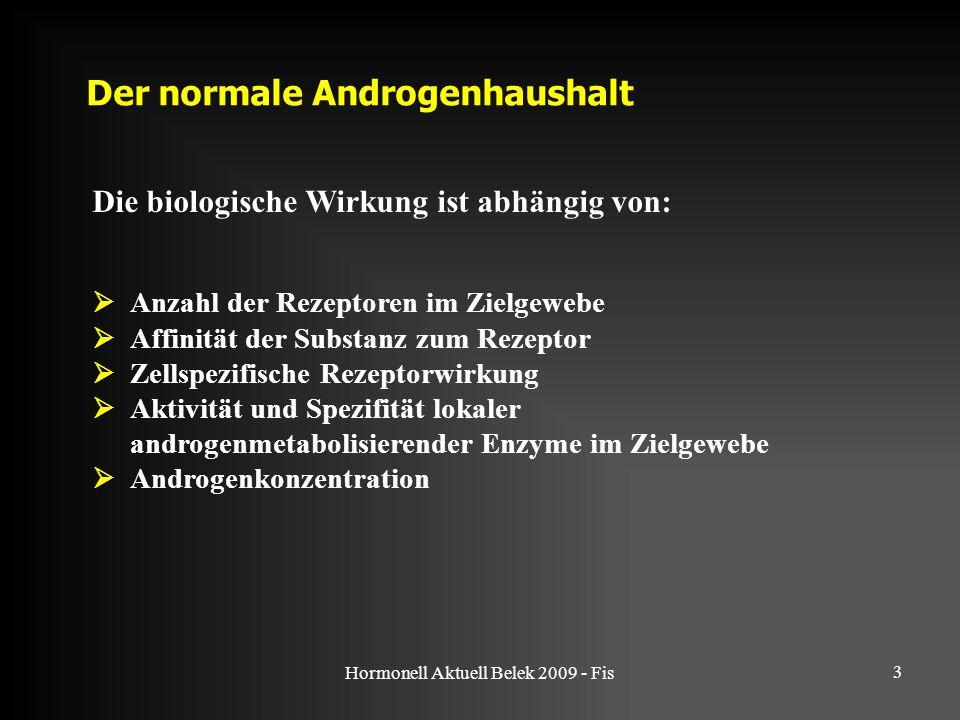 Hormonell Aktuell Belek 2009 - Fis 3 Die biologische Wirkung ist abhängig von: Der normale Androgenhaushalt  Anzahl der Rezeptoren im Zielgewebe  Af
