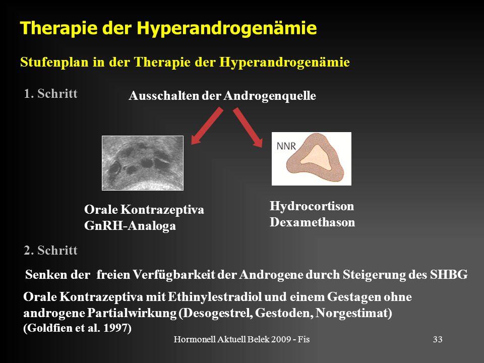 Hormonell Aktuell Belek 2009 - Fis33 Therapie der Hyperandrogenämie Ausschalten der Androgenquelle Orale Kontrazeptiva GnRH-Analoga 1. Schritt Orale K