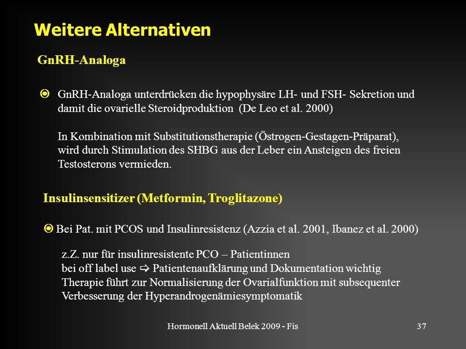 Hormonell Aktuell Belek 2009 - Fis37 Weitere Alternativen GnRH-Analoga  GnRH-Analoga unterdrücken die hypophysäre LH- und FSH- Sekretion und damit die ovarielle Steroidproduktion (De Leo et al.