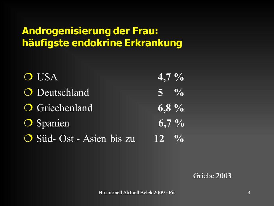 Hormonell Aktuell Belek 2009 - Fis4 Androgenisierung der Frau: häufigste endokrine Erkrankung  USA 4,7 %  Deutschland 5 %  Griechenland 6,8 %  Spanien 6,7 %  Süd- Ost - Asien bis zu 12 % Griebe 2003