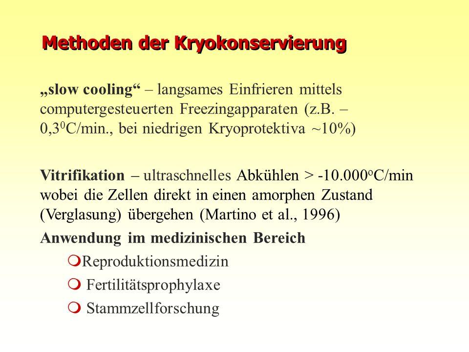 """""""slow cooling"""" – langsames Einfrieren mittels computergesteuerten Freezingapparaten (z.B. – 0,3 0 C/min., bei niedrigen Kryoprotektiva ~10%) Vitrifika"""