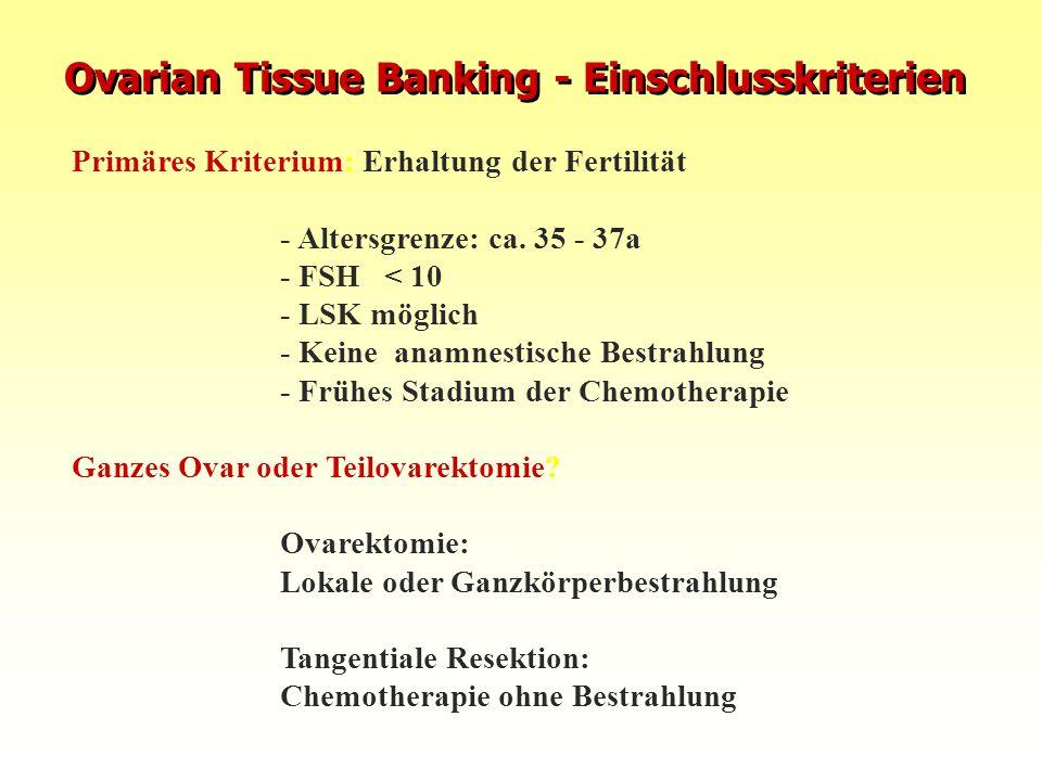 Primäres Kriterium: Erhaltung der Fertilität - Altersgrenze: ca. 35 - 37a - FSH< 10 - LSK möglich - Keine anamnestische Bestrahlung - Frühes Stadium d