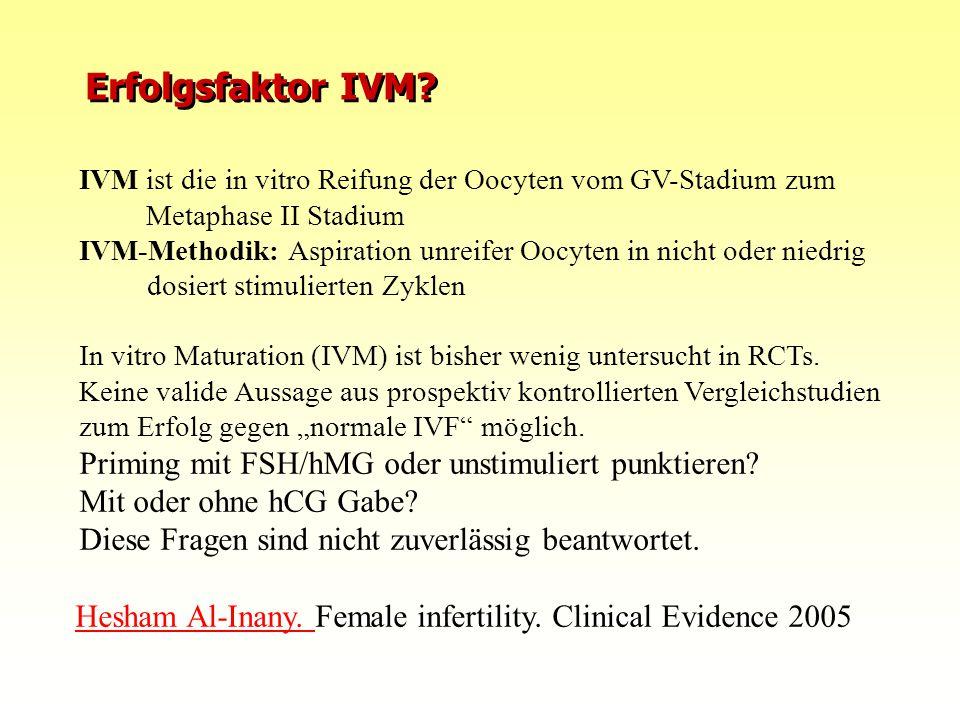 Erfolgsfaktor IVM? IVM ist die in vitro Reifung der Oocyten vom GV-Stadium zum Metaphase II Stadium IVM-Methodik: Aspiration unreifer Oocyten in nicht