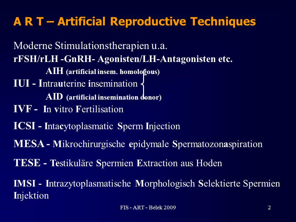 A R T – Artificial Reproductive Techniques Moderne Stimulationstherapien u.a. rFSH/rLH -GnRH- Agonisten/LH-Antagonisten etc. AIH (artificial insem. ho