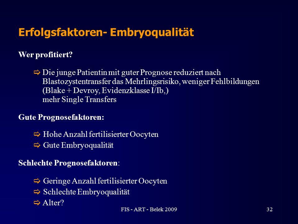 Erfolgsfaktoren- Embryoqualität Wer profitiert?  Die junge Patientin mit guter Prognose reduziert nach Blastozystentransfer das Mehrlingsrisiko, weni