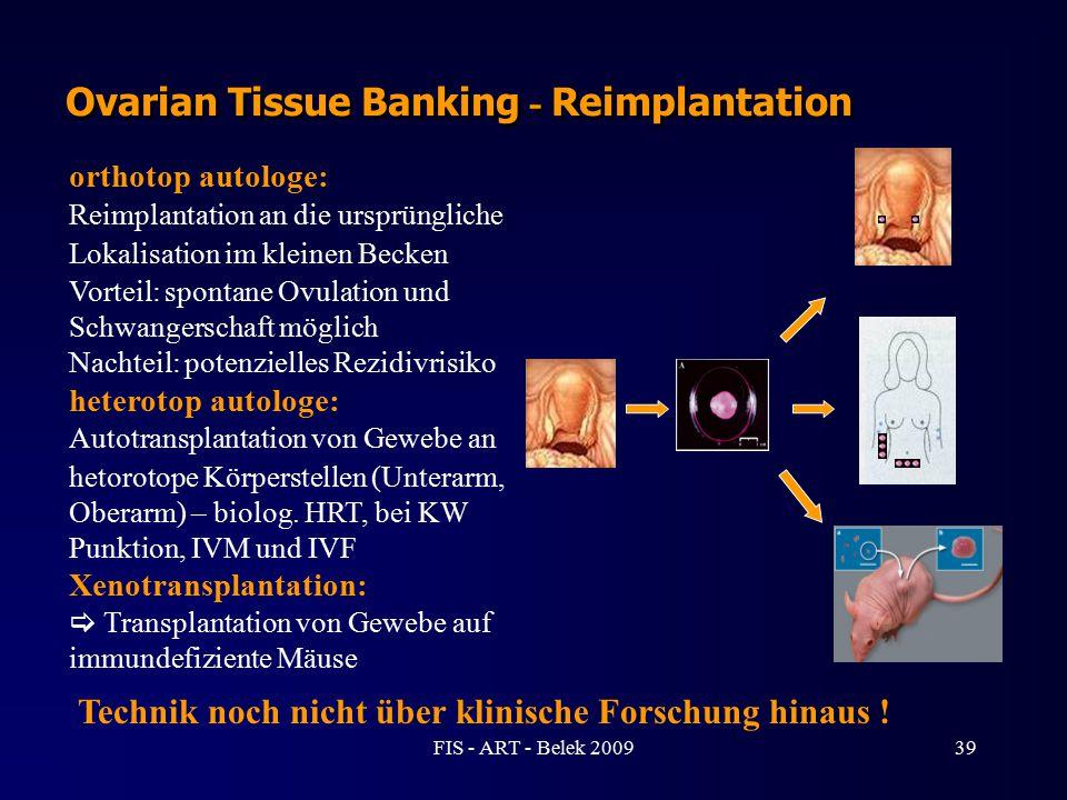 orthotop autologe: Reimplantation an die ursprüngliche Lokalisation im kleinen Becken Vorteil: spontane Ovulation und Schwangerschaft möglich Nachteil