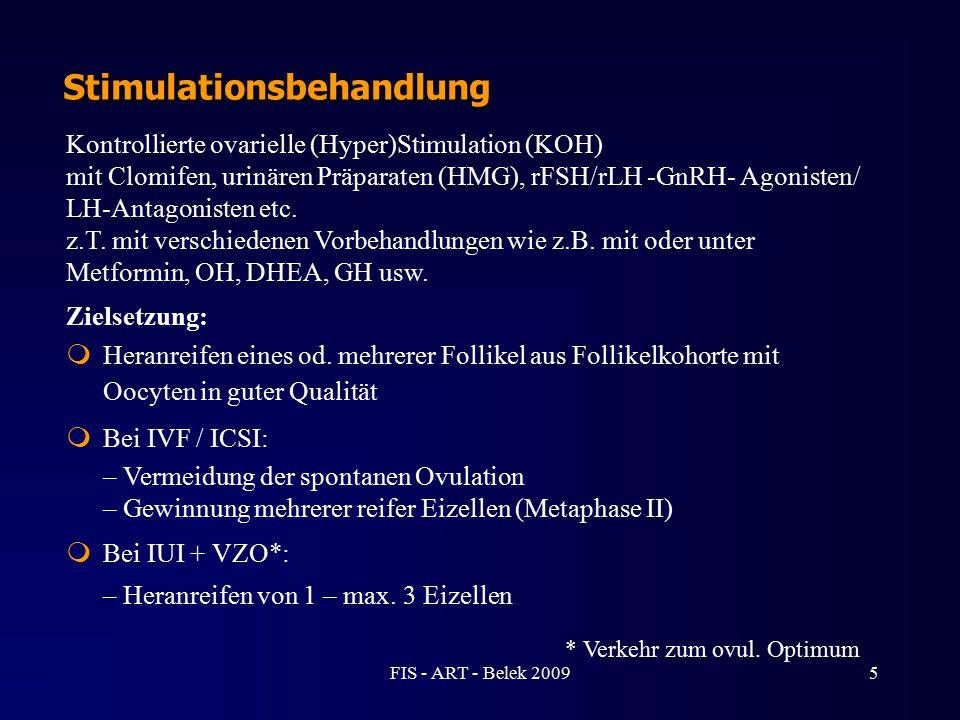 5 Stimulationsbehandlung Kontrollierte ovarielle (Hyper)Stimulation (KOH) mit Clomifen, urinären Präparaten (HMG), rFSH/rLH -GnRH- Agonisten/ LH-Antag