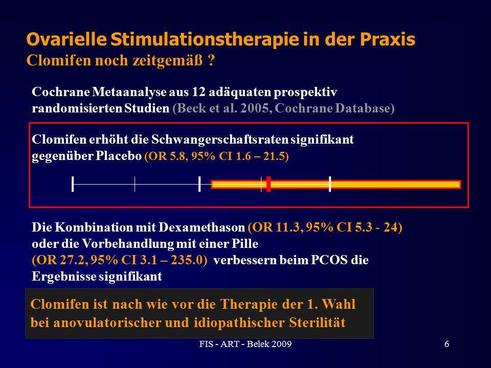 Ovarielle Stimulationstherapie in der Praxis Clomifen noch zeitgemäß ? Cochrane Metaanalyse aus 12 adäquaten prospektiv randomisierten Studien (Beck e