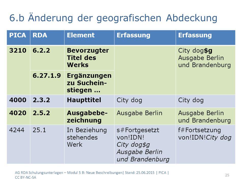 AG RDA Schulungsunterlagen – Modul 5 B: Neue Beschreibungen| Stand: 25.06.2015 | PICA | CC BY-NC-SA 25 6.b Änderung der geografischen Abdeckung PICARDAElementErfassung 32106.2.2Bevorzugter Titel des Werks City dog$g Ausgabe Berlin und Brandenburg 6.27.1.9Ergänzungen zu Suchein- stiegen … 40002.3.2HaupttitelCity dog 40202.5.2Ausgabebe- zeichnung Ausgabe BerlinAusgabe Berlin und Brandenburg 424425.1In Beziehung stehendes Werk s#Fortgesetzt von!IDN.