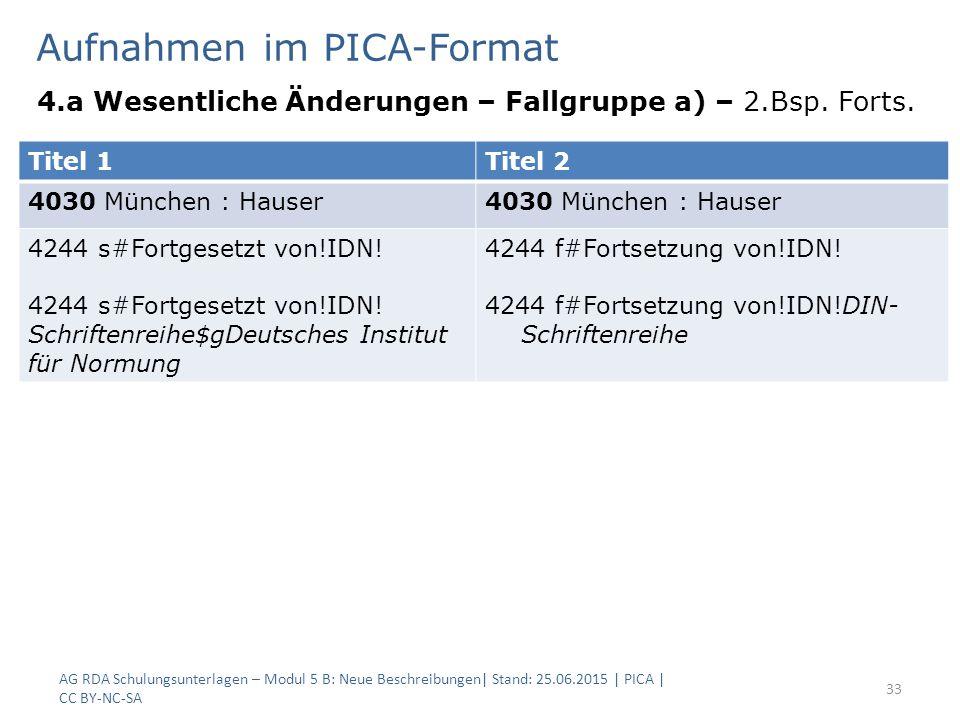 Aufnahmen im PICA-Format 4.a Wesentliche Änderungen – Fallgruppe a) – 2.Bsp. Forts. AG RDA Schulungsunterlagen – Modul 5 B: Neue Beschreibungen| Stand