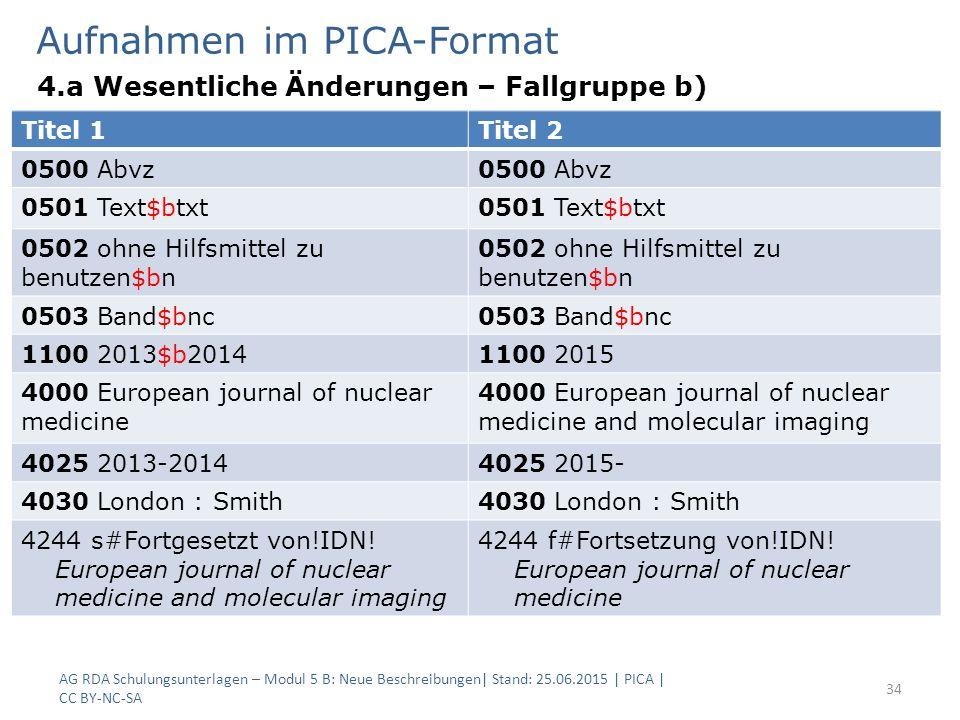 Aufnahmen im PICA-Format 4.a Wesentliche Änderungen – Fallgruppe b) AG RDA Schulungsunterlagen – Modul 5 B: Neue Beschreibungen| Stand: 25.06.2015 | PICA | CC BY-NC-SA 34 Titel 1Titel 2 0500 Abvz 0501 Text$btxt 0502 ohne Hilfsmittel zu benutzen$bn 0503 Band$bnc 1100 2013$b20141100 2015 4000 European journal of nuclear medicine 4000 European journal of nuclear medicine and molecular imaging 4025 2013-20144025 2015- 4030 London : Smith 4244 s#Fortgesetzt von!IDN.