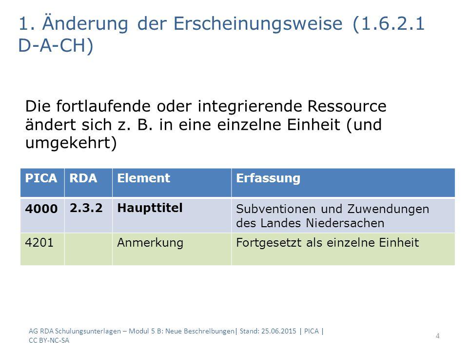 AG RDA Schulungsunterlagen – Modul 5 B: Neue Beschreibungen  Stand: 25.06.2015   PICA   CC BY-NC-SA 25 6.b Änderung der geografischen Abdeckung PICARDAElementErfassung 32106.2.2Bevorzugter Titel des Werks City dog$g Ausgabe Berlin und Brandenburg 6.27.1.9Ergänzungen zu Suchein- stiegen … 40002.3.2HaupttitelCity dog 40202.5.2Ausgabebe- zeichnung Ausgabe BerlinAusgabe Berlin und Brandenburg 424425.1In Beziehung stehendes Werk s#Fortgesetzt von!IDN.