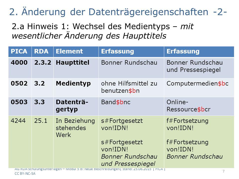 AG RDA Schulungsunterlagen – Modul 5 B: Neue Beschreibungen  Stand: 25.06.2015   PICA   CC BY-NC-SA 8 2.