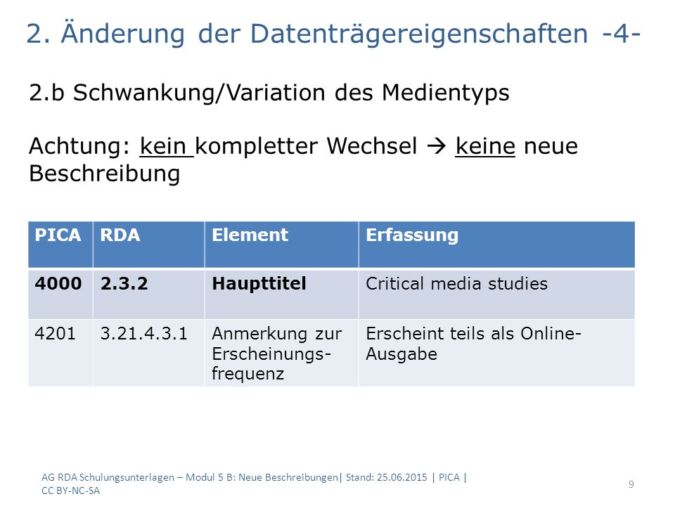 AG RDA Schulungsunterlagen – Modul 5 B: Neue Beschreibungen| Stand: 25.06.2015 | PICA | CC BY-NC-SA 9 2.b Schwankung/Variation des Medientyps Achtung: kein kompletter Wechsel  keine neue Beschreibung PICARDAElementErfassung 40002.3.2HaupttitelCritical media studies 42013.21.4.3.1Anmerkung zur Erscheinungs- frequenz Erscheint teils als Online- Ausgabe 2.