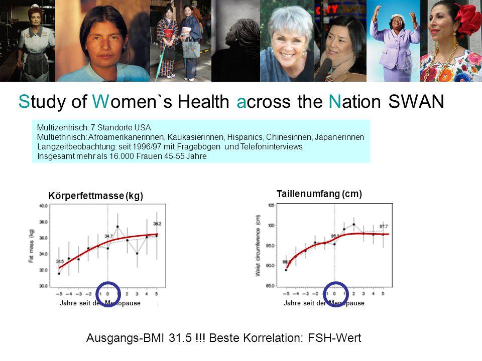 Körperfettmasse (kg) Taillenumfang (cm) Ausgangs-BMI 31.5 !!! Beste Korrelation: FSH-Wert Study of Women`s Health across the Nation SWAN Multizentrisc